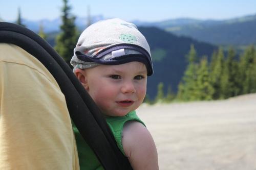 toddler in an ergo carrier wearing a shirt as a hat