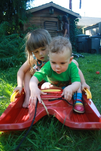 two children playing on a sled in the summer