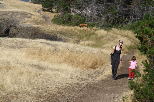 Mom and little girl walking together at Helliwell Park on Hornby Island