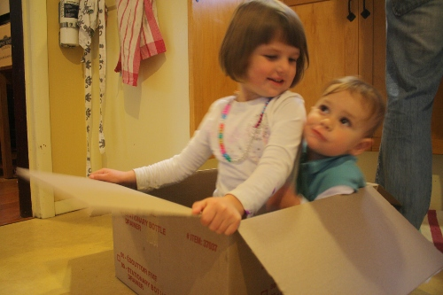 two girls playing in a cardboard box