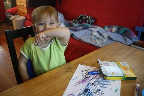 mischevious toddler artist