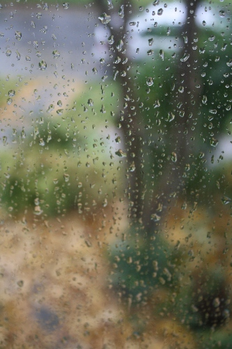 the view from a rain splattered window
