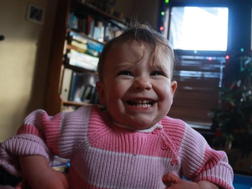 toddler girl acting like a monkey
