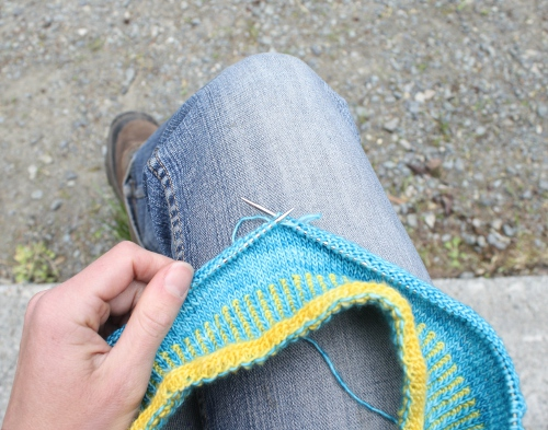 campsite knitting