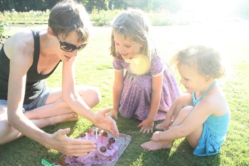 birthday cake in the rose garden