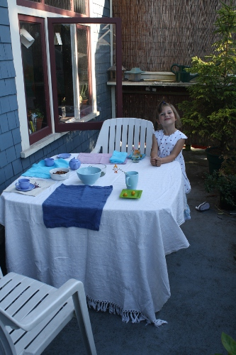 setting the table on the porch