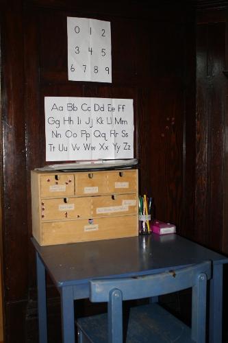 child's writing station