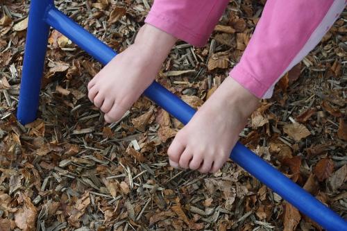barefoot on the autumn playground