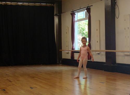 little girl at her first ballet class