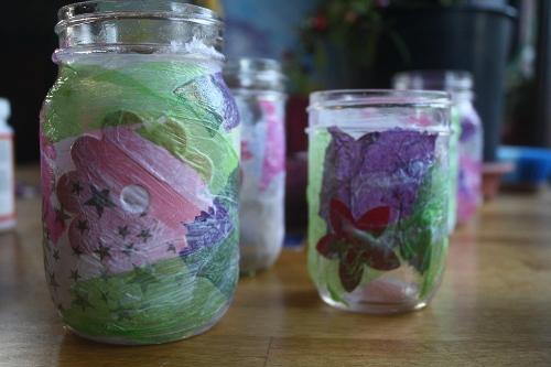 mod podge canning jar lanterns