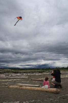 flying a kite on a dark, cloudy day